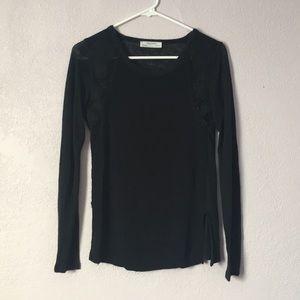Zara black crochet detailed top