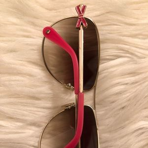 Pink Bow Kate Spade Aviator Sunglasses WITH CASE