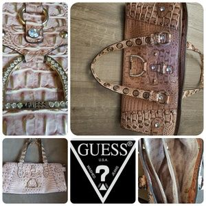 Guess pink sparkly shoulder bag with buckle