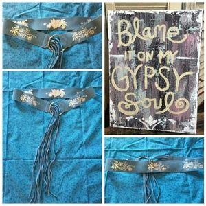 Accessories - Boho Fringe Embroidered Belt