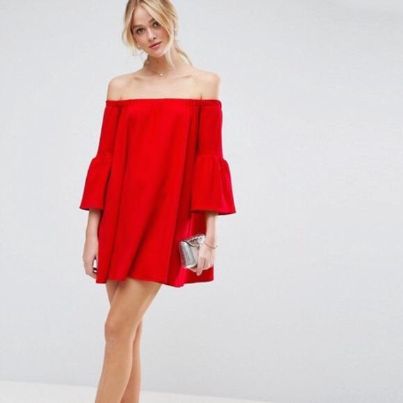 9d3831efa7f NWT Asos Off Shoulder Bell Sleeve Red Dress
