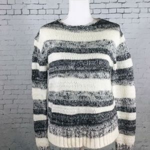 Cynthia Rowley Gray/White Open Knit Sweater Size S