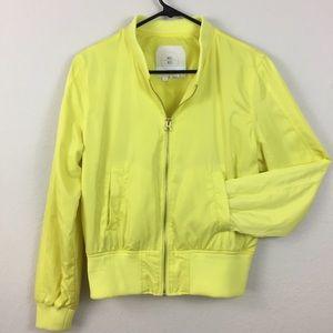 Anthro | Hei Hei  brihgt yellow bomber jacket