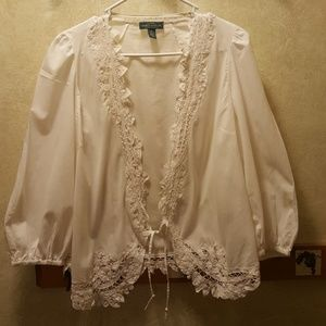 Lace trim 100% cotton shrug