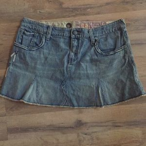 Free people denim skirt with feather detail 30