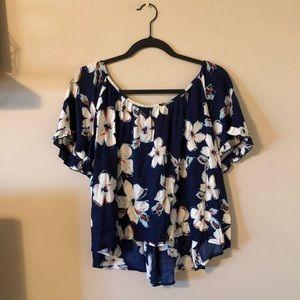 Navy blue floral top