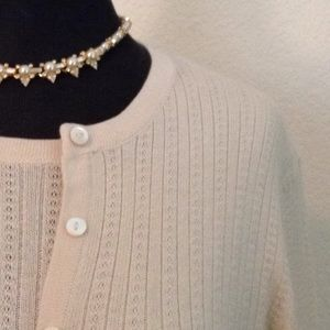 BROOKS BROTHERS silk/cashmere twinset in ivory
