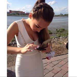 White jeweled open back deep v short prom dress