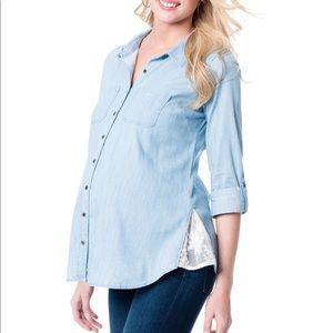 Motherhood Button Up Lace Trim Maternity Top