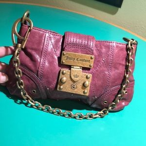 Juicy Couture Purplish Red Leather Shoulder Handba