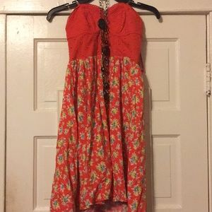 NWT orange corset top dress w/ floral skirt