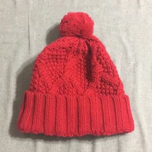 GAP knit red Pom pom winter hat