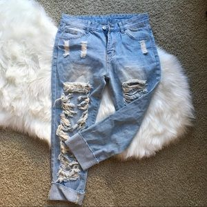 Denim - Ripped-up Boyfriend Jeans