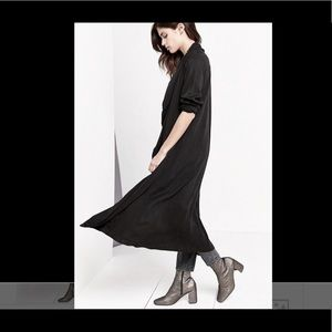Silence +Noise black Open Drapy Rayon Duster Coat