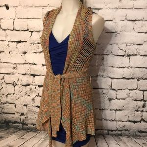 Sweaters - NWT Open Front Tie Multi-Colored Knit Vest