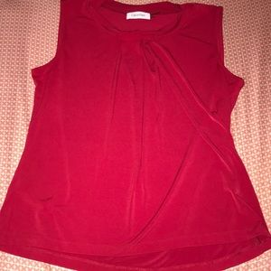 Calvin Klein Red Blouse Top Size Large