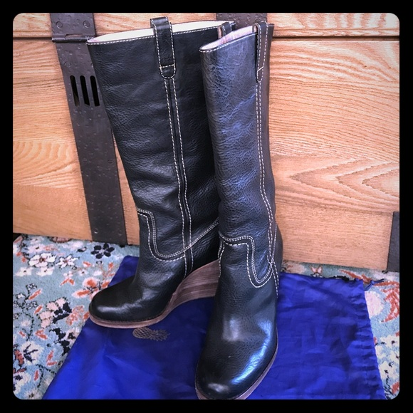 1000928f0c44 Frye Shoes - Frye Caroline Campus wedge tall boots - navy blue