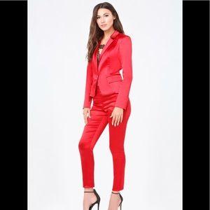 Bebe red satin pants