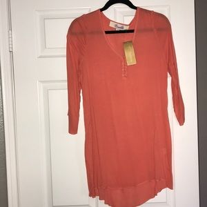 NWT coral tunic cover up