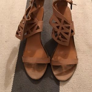 Nine West geometric ankle strap wedges
