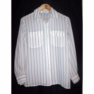 Vtg Blouse Winter White Black Blue Stripe 6