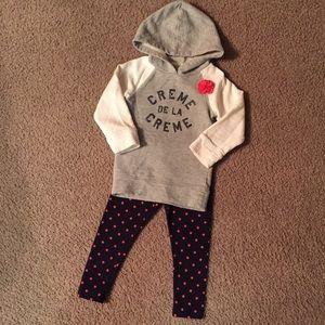 Osh Kosh Sweatshirt Hooded Tunic & Legging Set