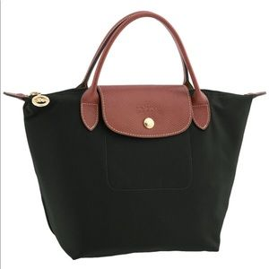 Authentic Long Champ Mini Le Pliage Handbag Black