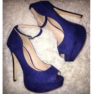 Cobalt Blue Open Toe Heels