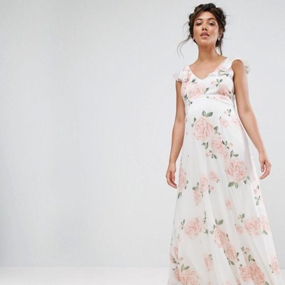 acc9becd31649 Maternity Ruffle Shoulder Floral Maxi Dress ASOS. M_5a1215d256b2d6570f0a04f8