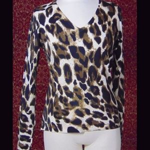 GRACE ELEMENTS rayon blend animal knit blouse M