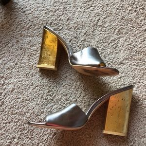 Gold and silver chunky square heels