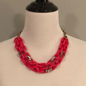 J.Crew Acrylic Pink and Brass Statement Necklace