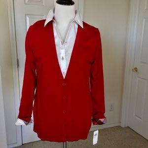 ✅ 🆕 Coldwater Creek Red Cardigan NWT 🎉HP🎉