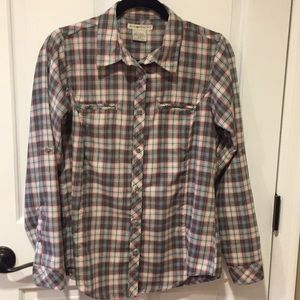 Green and red plaid Exofficio blouse
