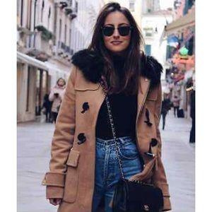 Zara Camel Wool Duffel Coat