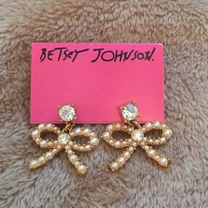 Gold, diamond and pearl Betsey Johnson earrings