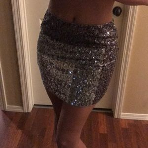 Express Sequin Mini Skirt