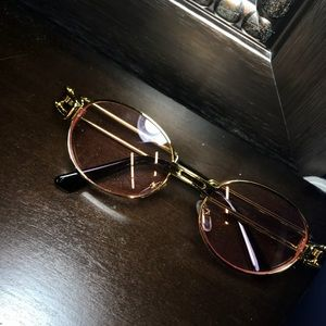 red/pink and gold sunglasses