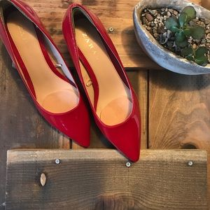 Zara Red Patent Leather Block Heel Shoes