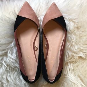 Zara black and pink pointy flats