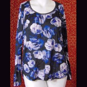 SIMPLY VERA black floral polyester blouse XL