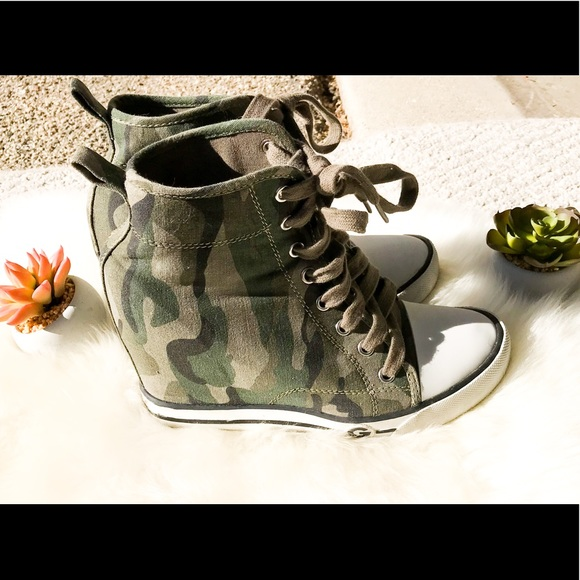1a4d284b527a5 Guess Shoes   Just In Green Camo Wedge Sneakers   Poshmark