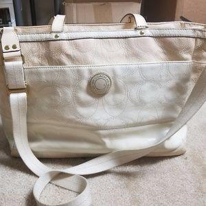COACH Signature Stripe Stitched Diaper Bag