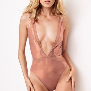 Victoria's Secret metallic plunge bodysuit teddy