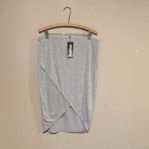 Jersey wrap midi skirt pencil plus size