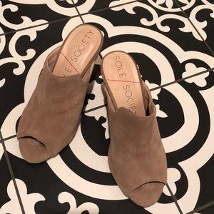 Tan leather slide wedge sandals