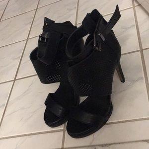 BOGO50%: Black sandals ankle wrap, back zipper