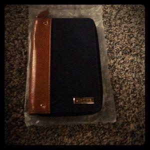 Miche Passport Wallet Navy Blue and Chestnut Brown