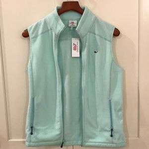 Vineyard Vines Fleece Solid Winter-mint vest.
