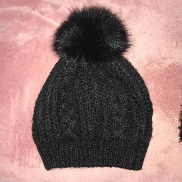 bd6f3d96c7ed5f Adrienne Landau Accessories - Adrienne Landau Fox Pom Pom knit hat
